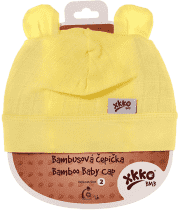 KIKKO Bambusová detská čiapočka Colours, vel. 2 - lemon