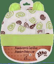 KIKKO Bambusová dětská čepička Spirals vel. 2 - lime