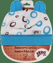 KIKKO Bambusová dětská čepička Bubbles vel. 2 – cyan