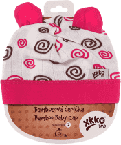 KIKKO Bambusová detská čiapočka Spirals vel. 4 - magenta