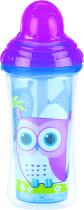 NUBY Termoizolační láhev s brčkem 270ml, 12m+, růžová