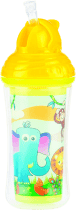 NUBY Termoizolacyjna butelka ze słomką, 270ml, 12m+, kolor żółty