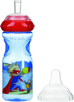 NUBY Netečúci fľaša so silikónovým náustkom 300ml, 9m +, modrá s červeným viečkom – superhrdina