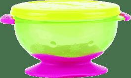 NUBY Miska s víčkem a přísavkou, zelená se žlutým víčkem
