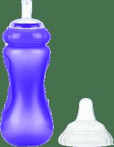 NUBY Športová fľaša so silikónovým náustkom 300 ml, 9m +, fialová