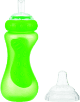 NUBY Športová fľaša so silikónovým náustkom 300 ml, 9m +, zelená