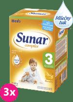 3x SUNAR Complex 3 BANÁN (600g) - dojčenské mlieko