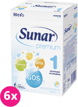 6x SUNAR Premium 1 (600 g) - dojčenské mlieko