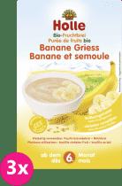 3x HOLLE Organická ovocná kaše banán-krupice, 250g