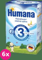 6x HUMANA 3 banán s vanilkovou příchutí (600 g) - kojenecké mléko