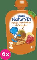 6x NESTLÉ Naturnes Hruška/Banán/Malina/Cereálie 90g - ovocná kapsička