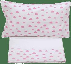 GLOOP Pościel do łóżeczka (poszewka, poszwa, prześcieradło białe) Pink Clouds