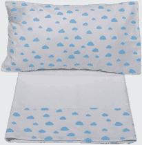 GLOOP Pościel do łóżeczka (poszewka, poszwa, prześcieradło białe) Blue Clouds