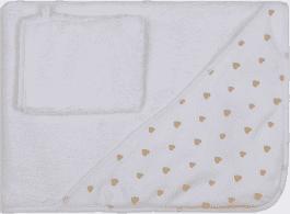 GLOOP Ręcznik z kapturkiem z organicznej bawełny Little Hearts