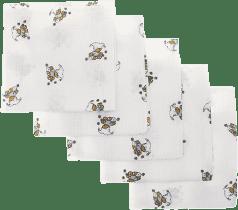 Libsztackie pieluszki Dziecięce bawełniane pieluszki 70x70 cm, nadruk, 5 szt., Niedźwiadek w niebies