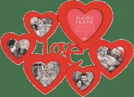 FOTORAMKA czerwona Maggiore XXXIII z serduszkami i napisem LOVE na 6 fotografii