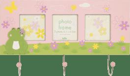 FOTORAMKA różowa Cute FROG z wieszakiem na klucze na 3 fotografie 6,5 x 6,5 cm