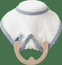 LULLALOVE superr Baby Eco - podbradník a hryzátko 2v1, krémová