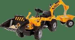 SIMBA Traktor z pedałami MAX z koparką i przyczepą