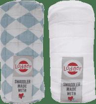 LODGER Multifunkční osuška Swaddler balení 2ks – Silvercreek/White