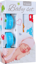 T-TOMI Baby set - bambusová osuška + kočárkový kolíček, modrá/auta