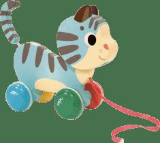 VILAC Drevená hračka - Drevená ťahacie mačička