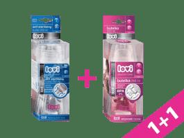LOVI Samosterilizující láhev 250ml bez BPA čirá + LOVI Láhev 250 ml aktivní sání čirá ZDARMA