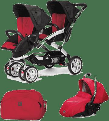 CASUALPLAY Set kočárek pro dvojčátka Stwinner, 2x autosedačka Sono a Bag 2015 - Raspberry