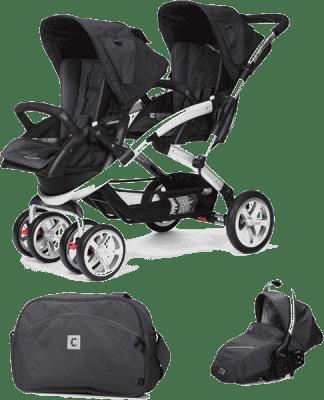 CASUALPLAY Zestaw Wózek dla bliźniąt Stwinner, 2x Fotelik samochodowy Sono i Torba 2016 - Metal
