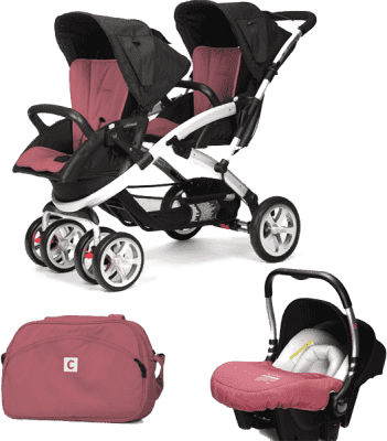 CASUALPLAY Set kočárek pro dvojčátka Stwinner, 2x autosedačka Baby 0plus a Bag 2015 - Boreal