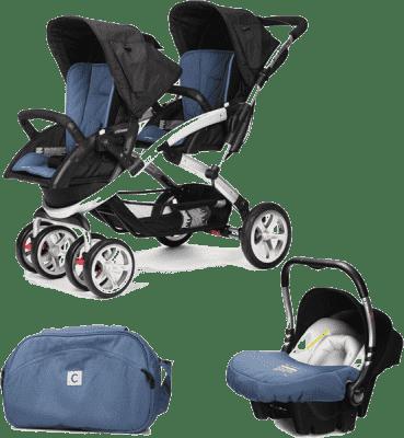 CASUALPLAY Set kočárek pro dvojčátka Stwinner, 2x autosedačka Baby 0plus a Bag 2016 - Lapis lazuli