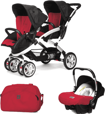 CASUALPLAY Set kočík pre dvojičky Stwinner, 2 x autosedačka Baby 0plus a Bag 2015 - Raspberry