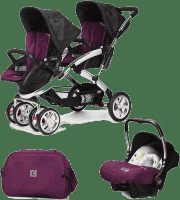 CASUALPLAY Set kočárek pro dvojčátka Stwinner, 2x autosedačka Baby 0plus a Bag 2016 - Plum
