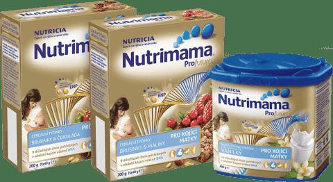 NUTRILON NUTRIMAMA Profutura balíček (1x tyčinky-čokoláda, 1x tyčinky-brusinka, 1x vanilkový nápoj)