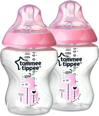 TOMMEE TIPPEE Dojčenská fľaša s obrázkami C2N, 2ks 260ml, 0 + m-ružová