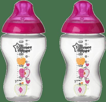 TOMMEE TIPPEE Kojenecká láhev s obrázky C2N, 2ks, 340ml, 3+m-růžová