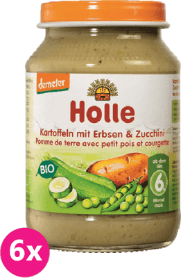 6x HOLLE Bio Brambor, hrášek a cuketa - zeleninový příkrm, 190g
