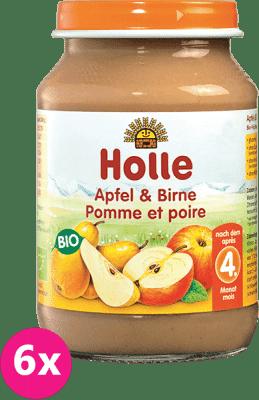 6x HOLLE Bio Jablko a hrušky - ovocný příkrm, 190g