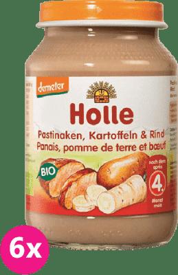 6x HOLLE Bio Pastyňák, brambor a hovězí maso - masový příkrm, 190g