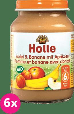 6x HOLLE Bio Jablko a banán s meruňkami - ovocný příkrm, 190g