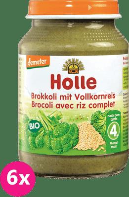 6x HOLLE Bio Brokolice s celozrnnou rýží - zeleninový příkrm, 190g