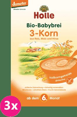 3x HOLLE Bio 3 - druhy zrna kaše, 250g