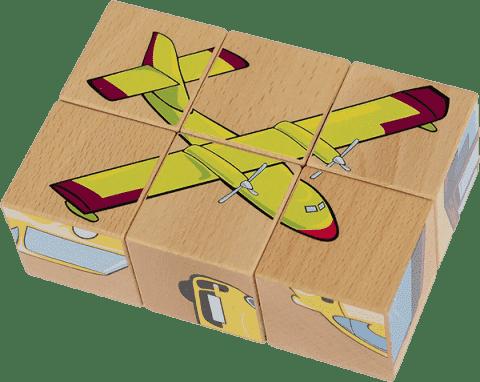 PILCH Skladačka - vozidlá, 6 kociek