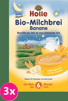 3x HOLLE Bio Banánová mléčná kaše, 250g