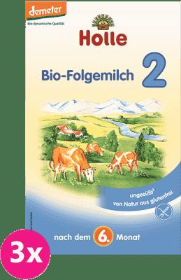 3x HOLLE Bio pokračovací mléčná kojenecká výživa 2, 600g