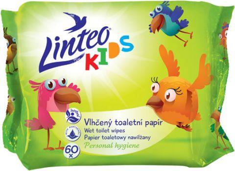 LINTEO KIDS Nawilżany papier toaletowy, 60 listków, woreczek