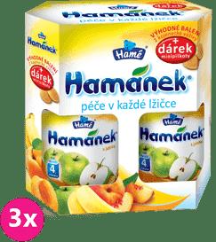 3x HAMÁNEK dojčenská výživa Duopack Jablko 2ks + piškóty, (6x190g)
