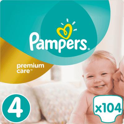 PAMPERS Premium Care 4 MAXI 104ks (8-14 kg) MEGA Box, MĚSÍČNÍ ZÁSOBA - jednorázové pleny