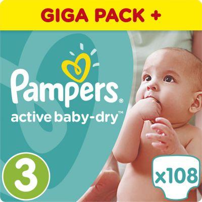 PAMPERS Active Baby 3 MIDI 108ks (4-9 kg) GIANT BOX PLUS - jednorazové plienky