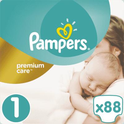 PAMPERS Premium Care 1 NEWBORN 88ks (2-5kg) VALUE pack – jednorázové pleny